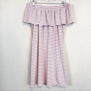 Sundry Off the Shoulder Striped Ruffled Dress sz S